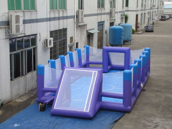 SMALL,BLUE BOUNCY FOOTBALL FIELD